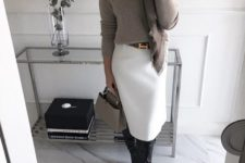 05 a white skirt, a grey sweater, a brown scarf, black boots, a grey bag and statement earrings