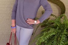 05 grey pants, a wrap taupe top, electric blue shoes and a red bag for a business casual look