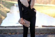 06 a black jumpsuit, leopard shoes, a blush faux fur scarf and a fur clutch for a party