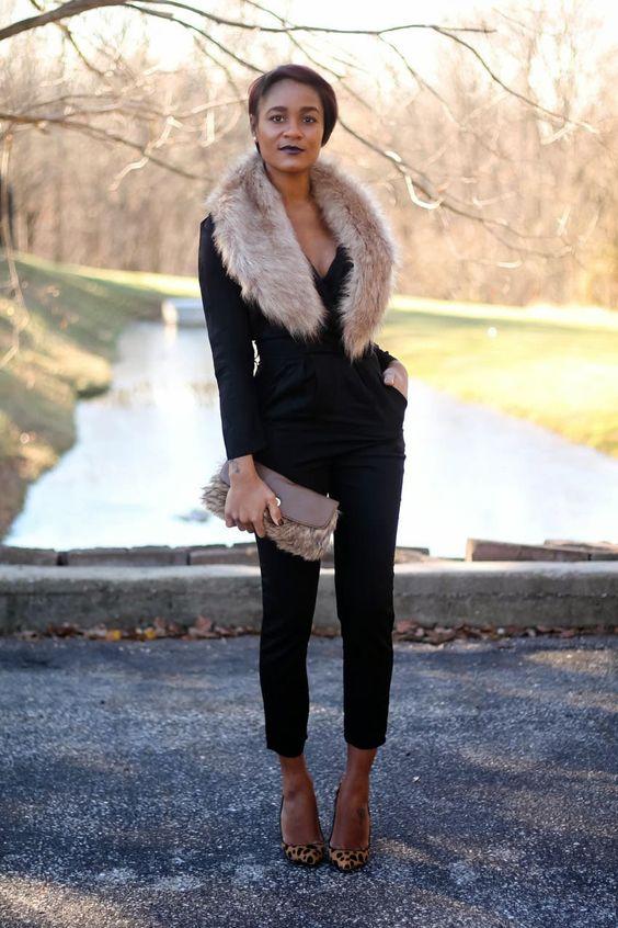 a black jumpsuit, leopard shoes, a blush faux fur scarf and a fur clutch for a party