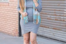 06 a casual grey over the knee dress, grey peep toe booties and a bright scarf as an accessory
