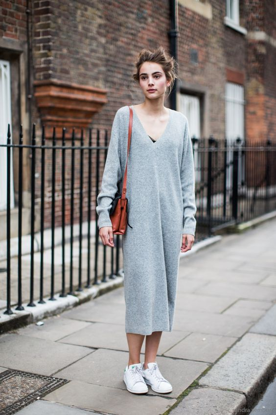 a grey midi sweater dress with a black lace bra, white sneakers and a bright bag for an ultimate casual look