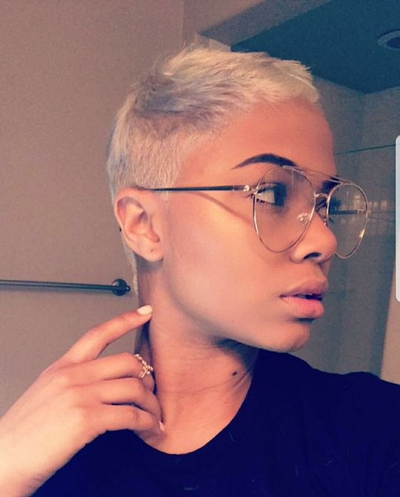 a super short straightened pixie haircut in blonde is all you need for a clean and trendy look