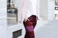 06 bold pink and burgundy striped pants, white heels, a white shirt, a blush blazer for a casual look