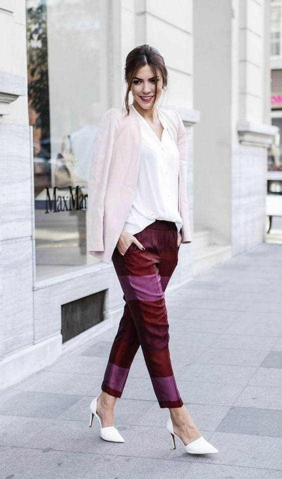 bold pink and burgundy striped pants, white heels, a white shirt, a blush blazer for a casual look