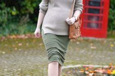 06 nude sock boots, an olive green midi dress and a grey sweater and a brown bag
