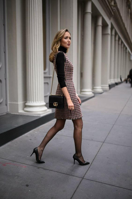such a tweed sheath dress will instantly make you look much older than you are