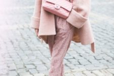 07 a blush lace jumpsuit, pink shoes, a coat and a bag for a super girlish look