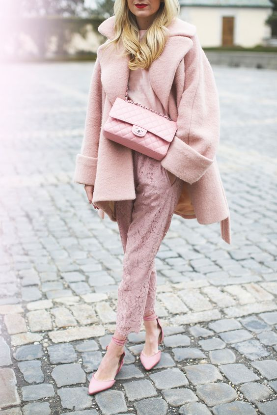 a blush lace jumpsuit, pink shoes, a coat and a bag for a super girlish look