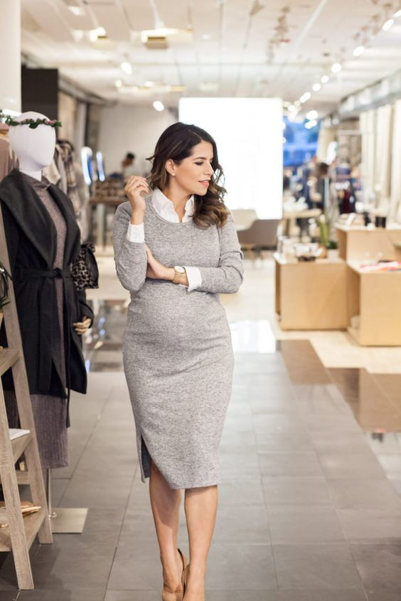 a grey midi dress with a white shirt and heels is timeless classics that always works