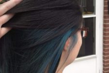07 a long black bob with teal highlights that make a statement when seen