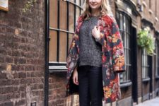07 a moody floral coat, a sweater, black leggings and nude booties for a cool fall look