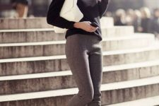 07 grey cropped pants, black loafers, a black turtleneck and a white clutch for a minimalist work look