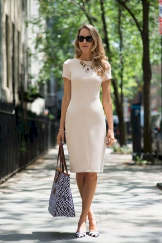 if you are choosing a sheath dress, prefer simpler and sleeker fabrics that won't make you older