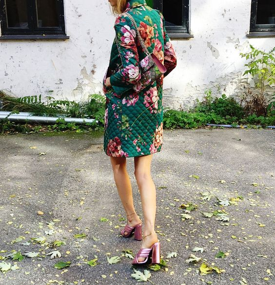 a colorful floral quilter coat and a floral bag for lots of prints and cool looks
