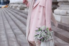 08 a cute outfit with a pink coat, blush jeans, nude platform shoes, a neutral chunky scarf