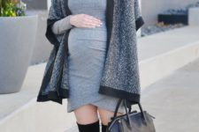 08 a grey over the knee dress, black suede boots, a poncho and a black bag for comfort
