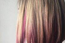 08 a long blonde bob wth pink peekaboo highlights that make usual blonde stand out
