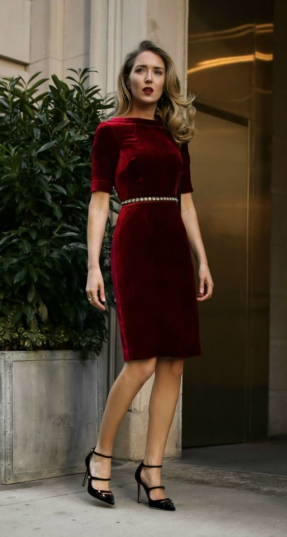 a sheath dress of velvet will not only make you look large but also older casue of the fabric