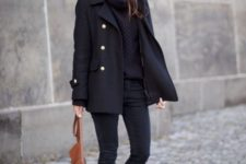 08 black cropped skinnies, a black cowl sweater, a short black coat with gold buttons and a brown bag