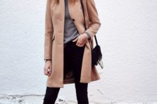 08 black skinnies, a grey turtleneck, a camel coat and nude heels for a timeless fall look