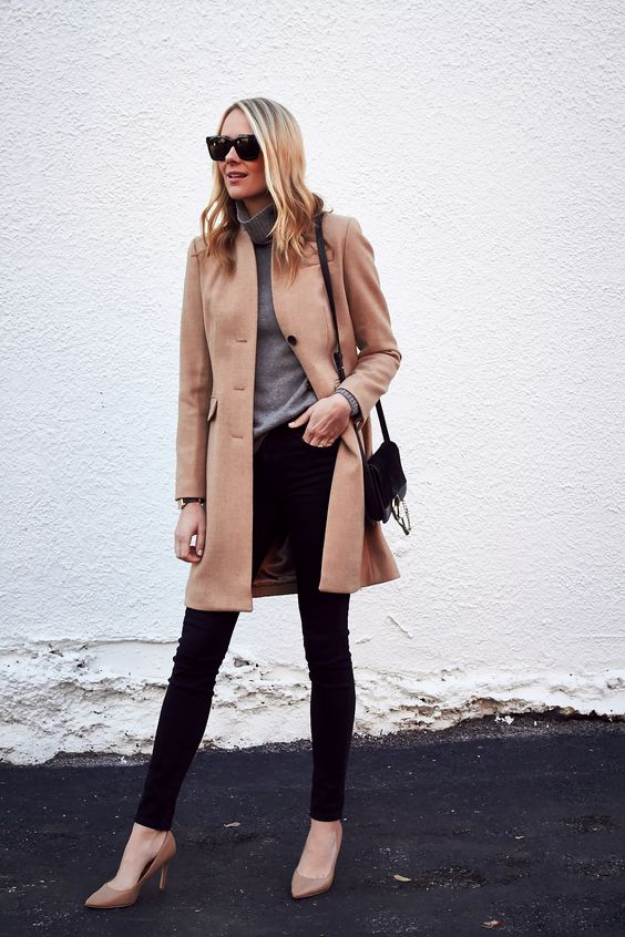 black skinnies, a grey turtleneck, a camel coat and nude heels for a timeless fall look