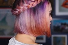 09 a bright purple to orange ombre bob and a waterfall braid for a boho feel