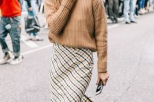 09 a camel oversized sweater, an asymmetric plaid midi skirt, metallic shoes for a fall outfit