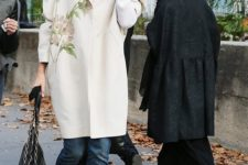 09 a gorgeous cremy coat with bright floral embroidery for a fresh fall look