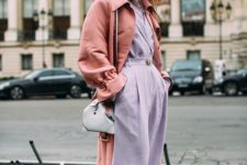 09 a lavender jumpsuit with wide leg pants, a coral trench, a light blue bag for a bright fall look