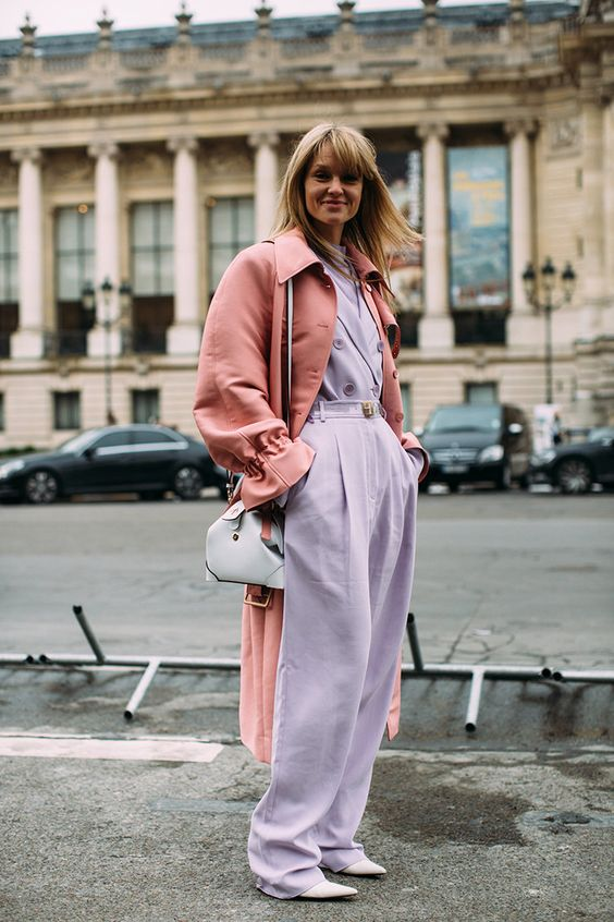 a lavender jumpsuit with wide leg pants, a coral trench, a light blue bag for a bright fall look