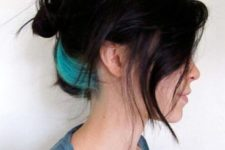 09 black hair with turquoise peekaboo highlights for a bright look and a colorful touch