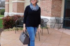09 blue cropped jeans, a black sweater, a leopard scarf, burgundy moccasins with tassels and a grey bag