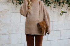 09 cognac velvet pants, cognac boots, a camel sweater and a cognac bag with fringe
