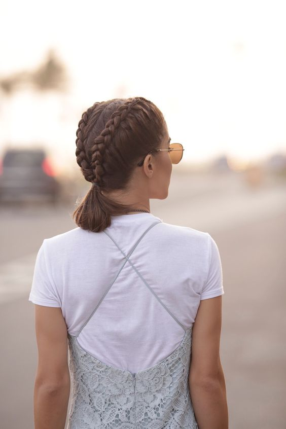 a double French braid on top into a small pigtail for a relaxed weekend look