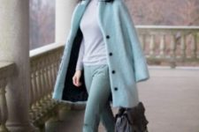 10 a mint look with pants, a coat, a grey turtleneck and yellow shoes to shine bright this fall