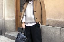 10 black culottes, black heels, a white shirt, a grey sweater, a camel short coat and a black bag