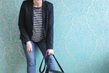 10 blue cropped jeans, a striped top, a black blazer, red shoes and a black bag for work