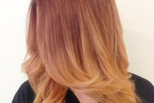 10 ombre auburn strawberry blonde hair with a cascade for a bright and cool look