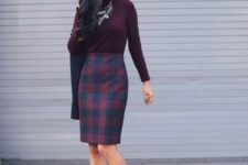11 a buffalo check knee skirt, a plum-colored turtleneck, blush suede shoes and layered necklaces