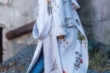 11 a neutral maxi coat with natural flower prints and printed shoes for a trendy fall look