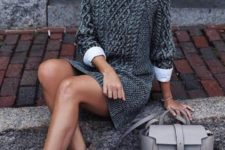 11 a white shirt, a grey sweater dress, beige booties and a grey bag for a stylish and warm outfit