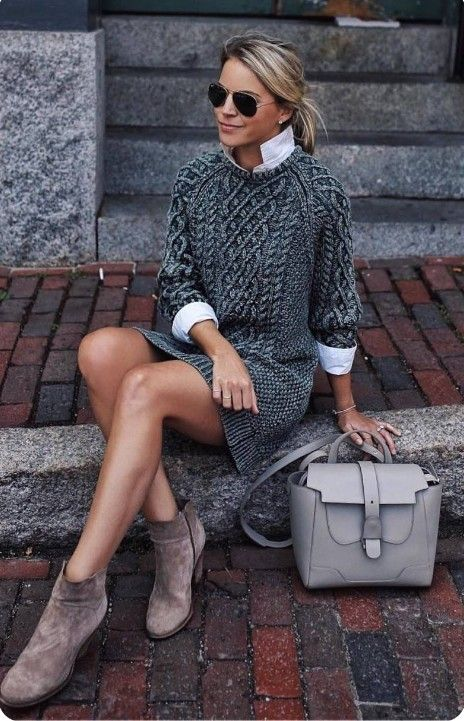 a white shirt, a grey sweater dress, beige booties and a grey bag for a stylish and warm outfit