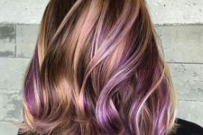 bold copper hairstyle with purple highlights