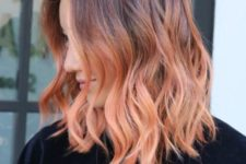 11 ombre wavy hair from burgundy chestnut to strawberry blonde is a bright statement