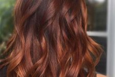 11 red brown hair with a lighter balayage is a gorgeous idea, especially with waves that are in trend