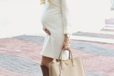 12 a creamy over the knee dress, tall brown boots,  a beige bag and a hat for the fall