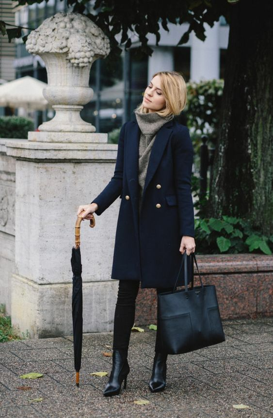 black skinnies, a grey cowl sweater, black booties, a navy coat with gold buttons and a black bag