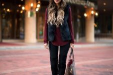 12 black skinnies, tall boots, a black fur waistcoat, a burgundy shirt and a grey beanie