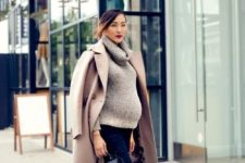 12 navy skinnies, a grey cowl sweater, platform shoes, a camel coat and a small bag